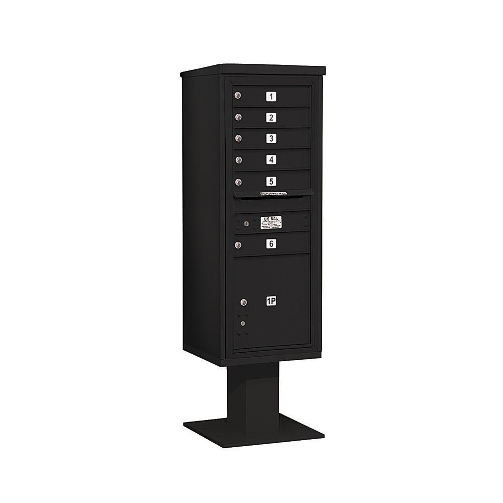 3400 Series 63-1/4 in. 13 Door High Unit Black 4C Pedestal Mailbox with 6 MB1 Doors/1 PL5