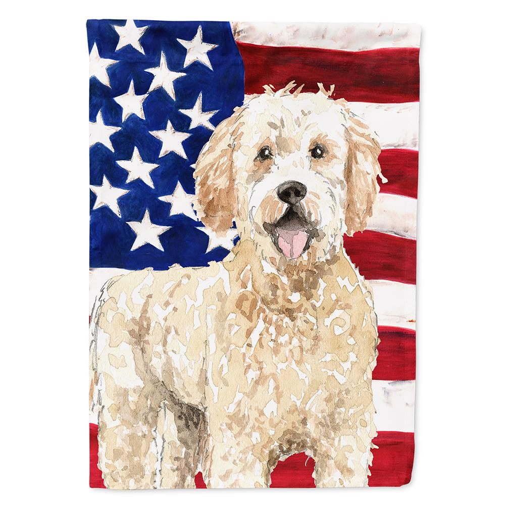 Caroline S Treasures 0 91 Ft X 1 29 Ft Polyester Patriotic Usa Goldendoodle 2 Sided 2 Ply Garden Flag Ck1731gf The Home Depot