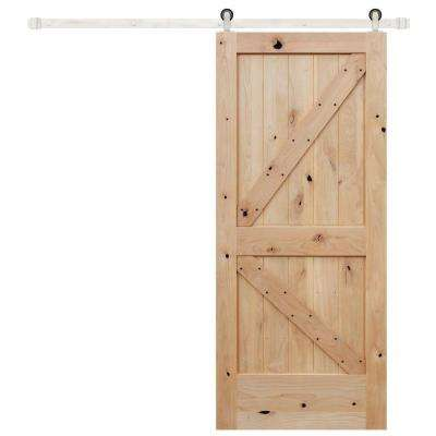 42 in. x 84 in. Rustic Unfinished 2-Panel Left Knotty Alder Wood Barn Door with Stainless Sliding Door Hardware Kit