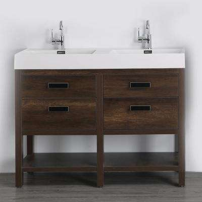 47.2 in. W x 32.3 in. H Bath Vanity in Brown with Resin Vanity Top in White with White Basin