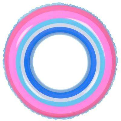 35 in. Blue and Pink Stripe Inflatable Inner Tube Float
