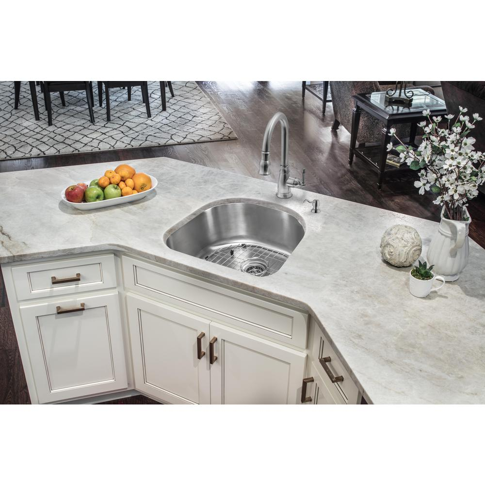 Glacier Bay Undermount 16-Gauge Stainless Steel 23 in. D-Shape Single Bowl  Kitchen Sink with Grid and Drain Assembly-VU2321A116P - The Home Depot