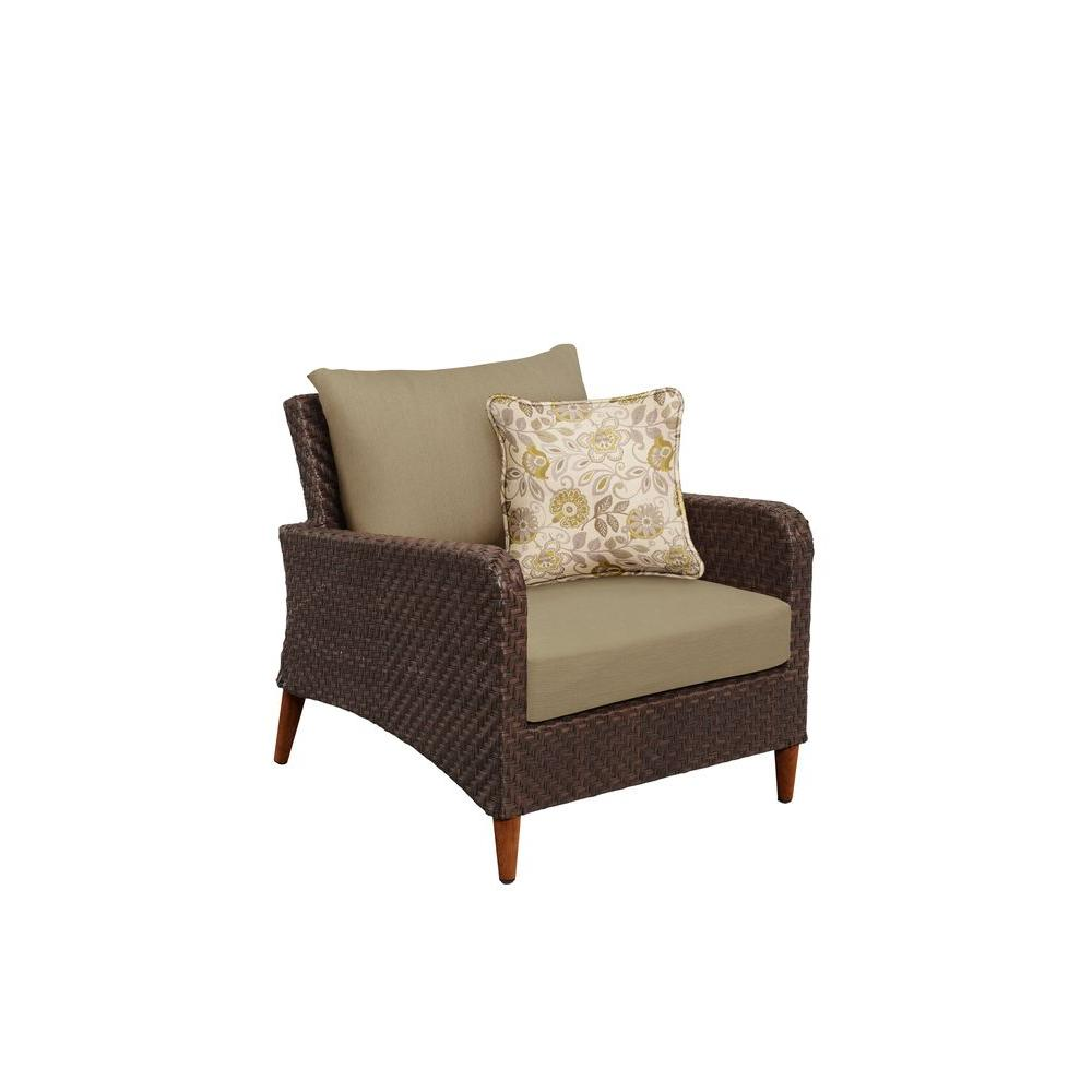 Brown Jordan Marquis Patio Lounge Chair with Meadow Cushions and Aphrodite Spring Throw Pillow -- CUSTOM