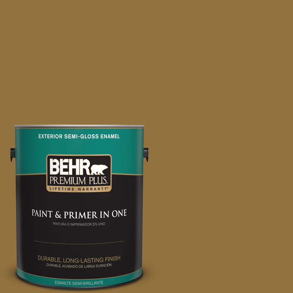 BEHR Premium Plus 1-gal. #350D-7 Cattail Brown Semi-Gloss Enamel Exterior Paint