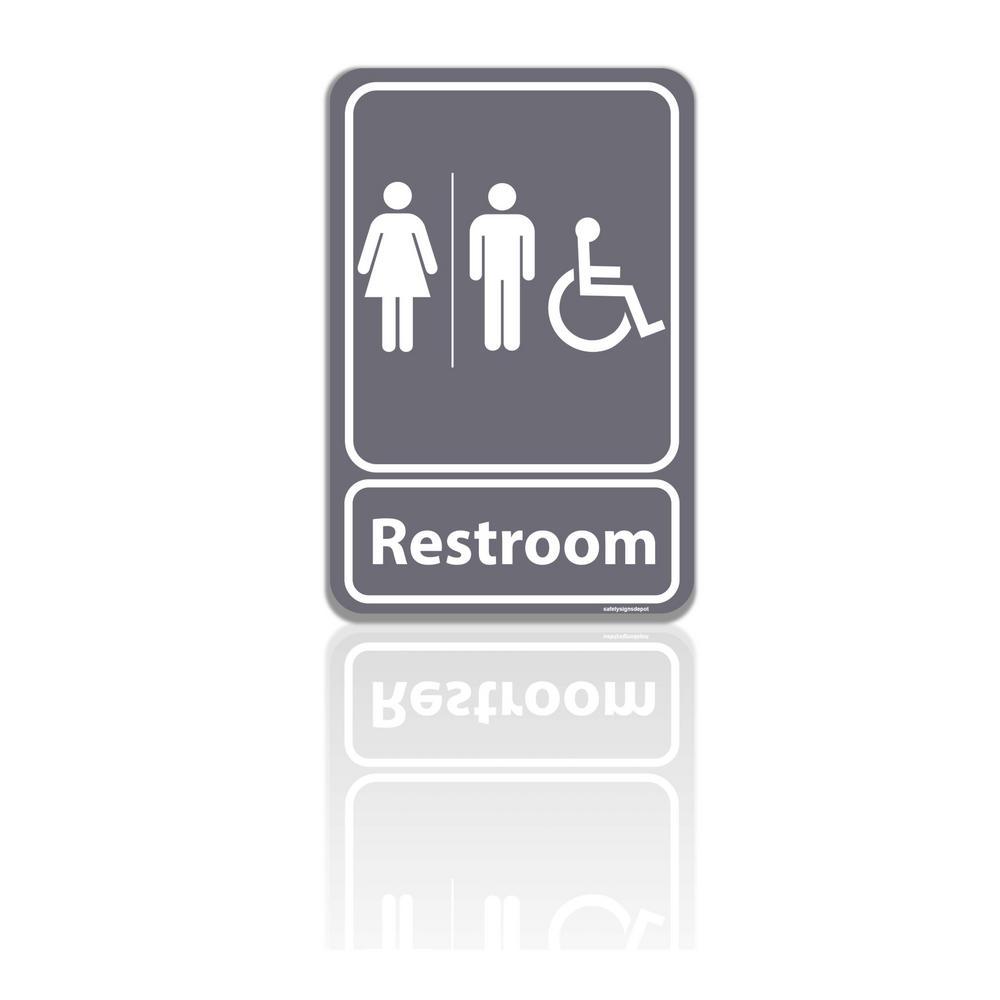 5.5 in. x 8 in. Unisex Men and Women Restroom Bathroom With ADA Complaint Handicap Symbol Gray Plastic Sign