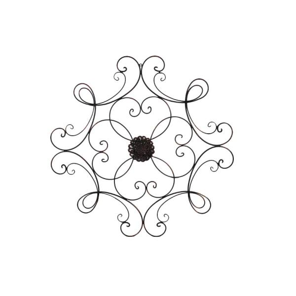 Benzara Medallion Square Scrolled Bronze Metal Wall Decor C482-MTL0007