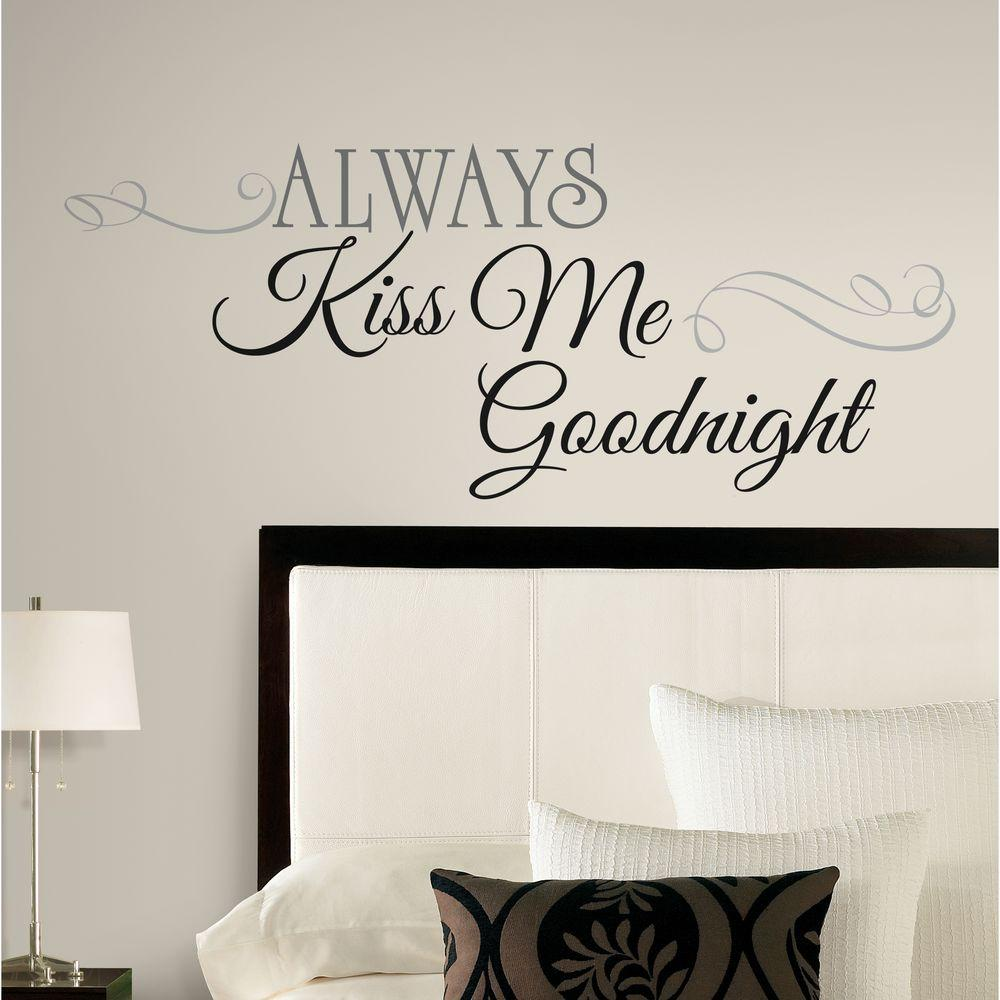 Black Wall Decor Fascinating 10 Inx 18 Inalways Kiss Me Goodnight 11Piece Peel And Stick Design Decoration