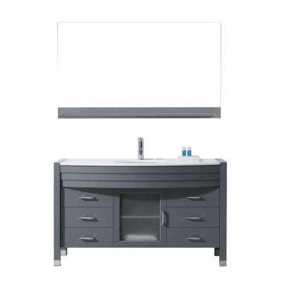 Ava 55 in. W Bath Vanity in Gray with Stone Vanity Top in White with Round Basin and Mirror and Faucet