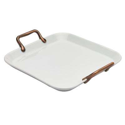 Square 14 in. White Serving Platter with Copper Handles (Set of 2)