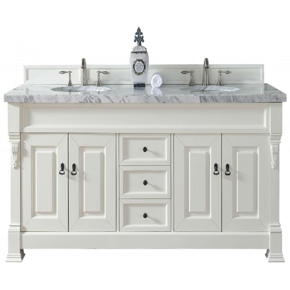 James Martin Signature Vanities Brookfield 72 in. W Double Vanity in Cottage White with Marble Vanity Top in Carrara White with White Basin