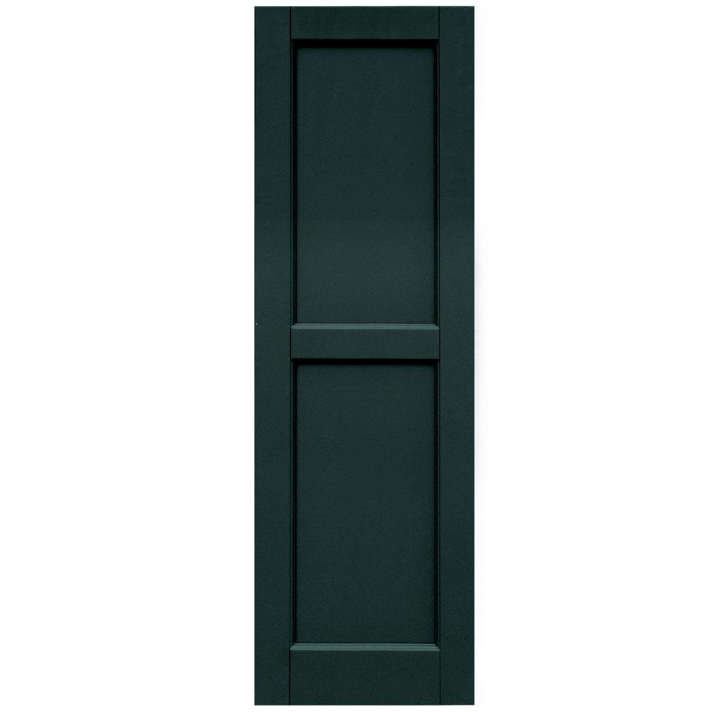 Winworks Wood Composite 15 in. x 48 in. Contemporary Flat Panel Shutters Pair #638 Evergreen