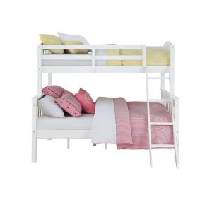 Internet #301694197. Dorel Living Airlie Twin Over Full White Wood Bunk Bed