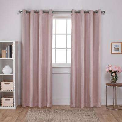 Carling 52 in. W x 96 in. L Woven Blackout Grommet Top Curtain Panel in Blush (2 Panels)