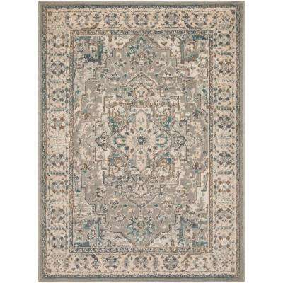 Eveline Teal/Beige 7 ft. 10 in. x 10 ft. 3 in. Oriental Area Rug