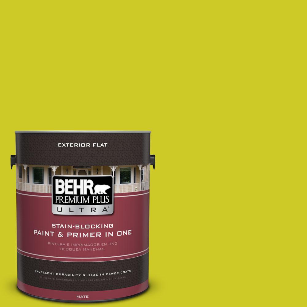 BEHR Premium Plus Ultra 1-gal. #S-G-400 Lime Pop Flat Exterior Paint