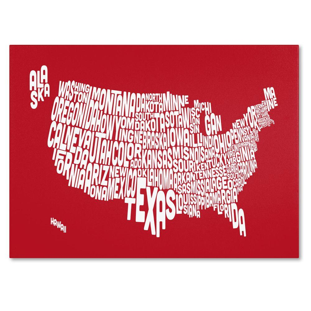 30 in. x 47 in. USA States Text Map - Red