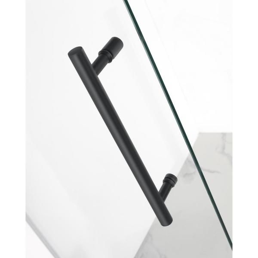Aston Nautis 73 25 74 25 In X 72 In Frameless Hinged Shower Door In Matte Black Sdr985 Mb 74 10 The Home Depot