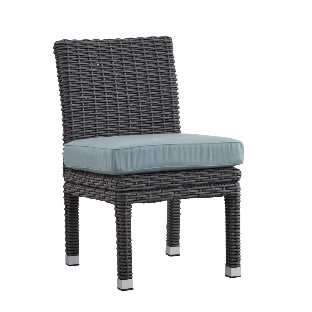 HomeSullivan Camari Charcoal Armless Wicker Outdoor Dining Chair With Blue  Cushion (Set Of 2)