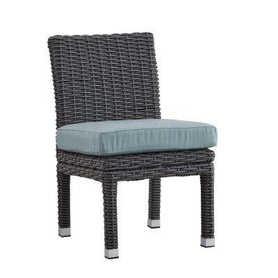 Camari Charcoal Armless Wicker Outdoor Dining Chair with Blue Cushion (Set of 2)