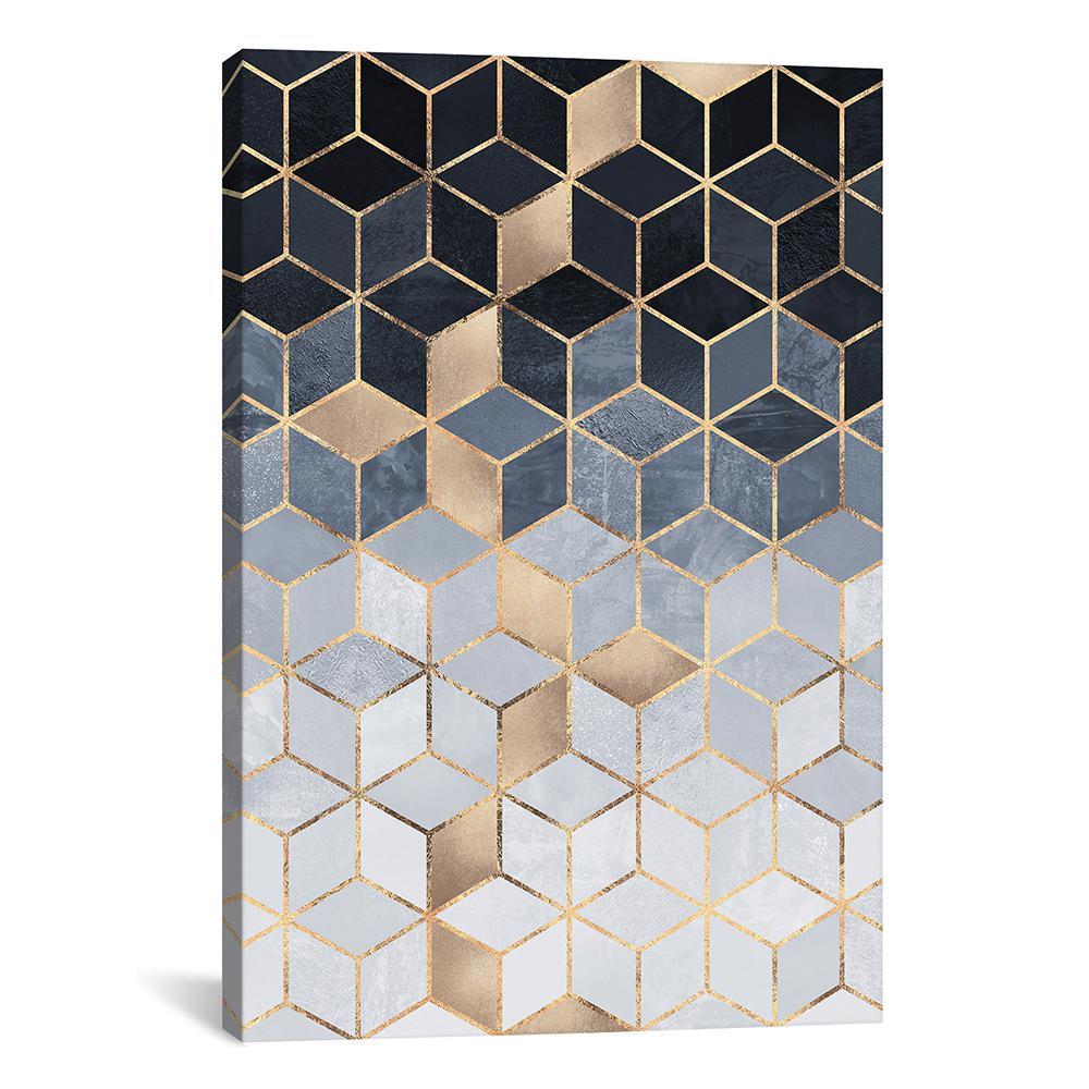 """Soft Blue Gradient Cubes, Rectangular"" by Elisabeth Fredriksson Canvas Wall Art"
