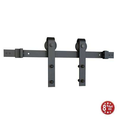 Black Solid Steel Sliding Rolling Barn Door Hardware 8 ft. Kit for Single Wood Doors