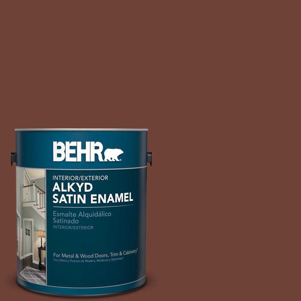 1 gal. #N160-7 Brown Velvet Satin Enamel Alkyd Interior/Exterior Paint