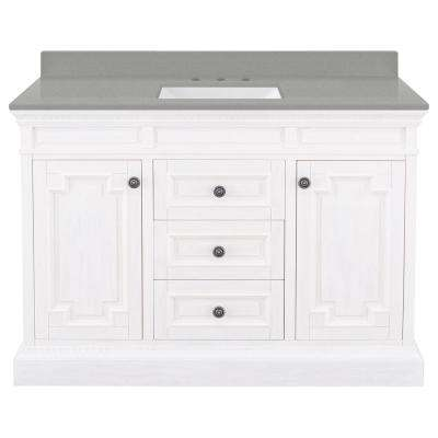 Cailla 49 in. W x 22 in. D Vanity in White with Engineered Quartz Vanity Top in Sterling Grey with White Sink