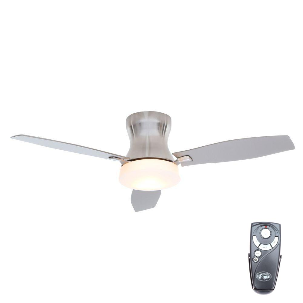 Hampton Bay Marta 52 In Indoor Brushed Nickel Ceiling Fan With Light Kit And Remote