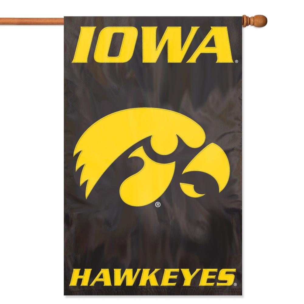 Party Animal Iowa Hawkeyes Applique Banner Flag-AFIA - The Home Depot