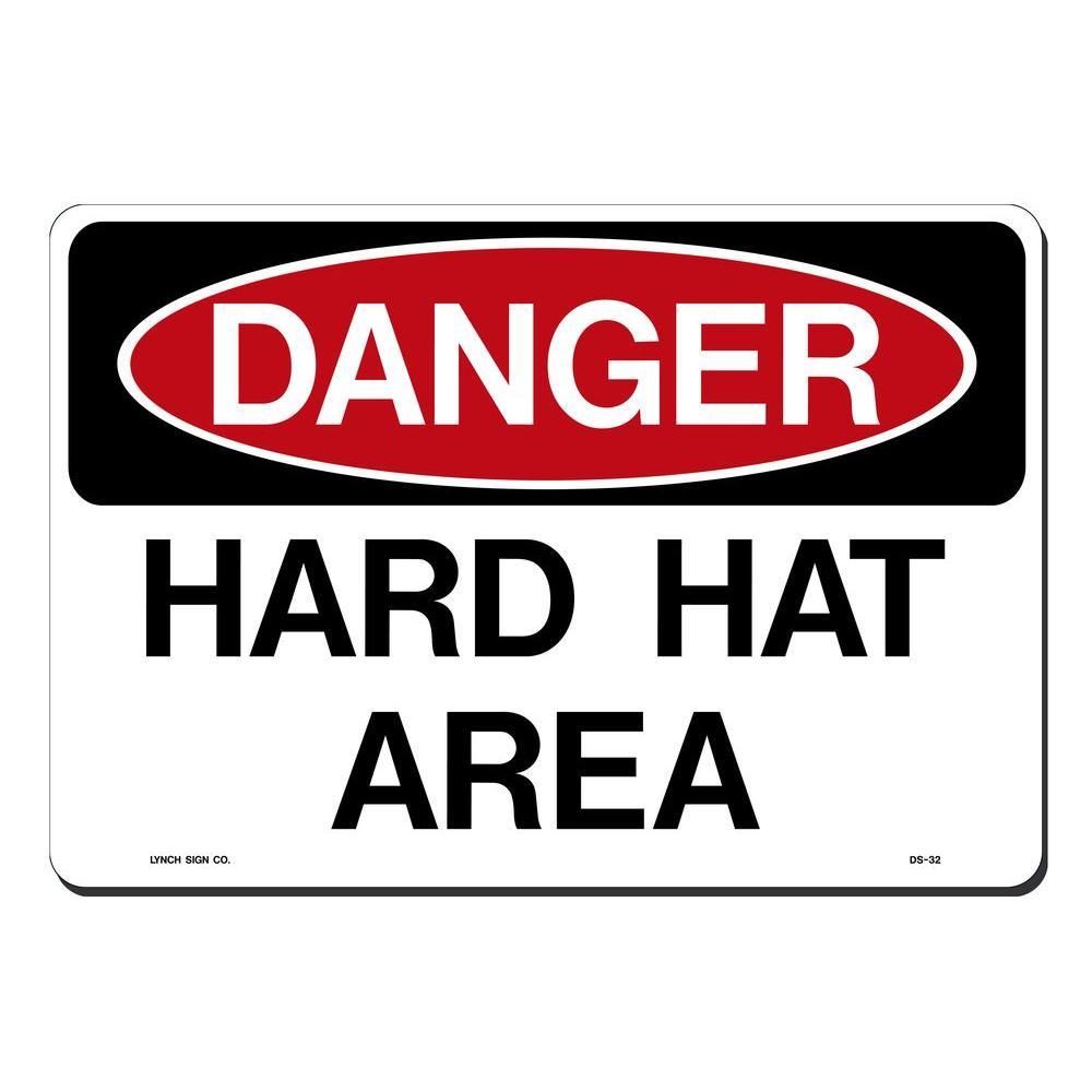 14 in. x 10 in. Danger Hard Hat Area Sign Printed on More Durable, Thicker, Longer Lasting Styrene Plastic