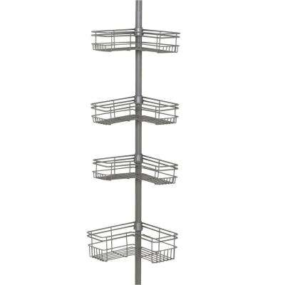 """L"" Style Tension Corner Pole Caddy in Satin Nickel with 4 Shelves"