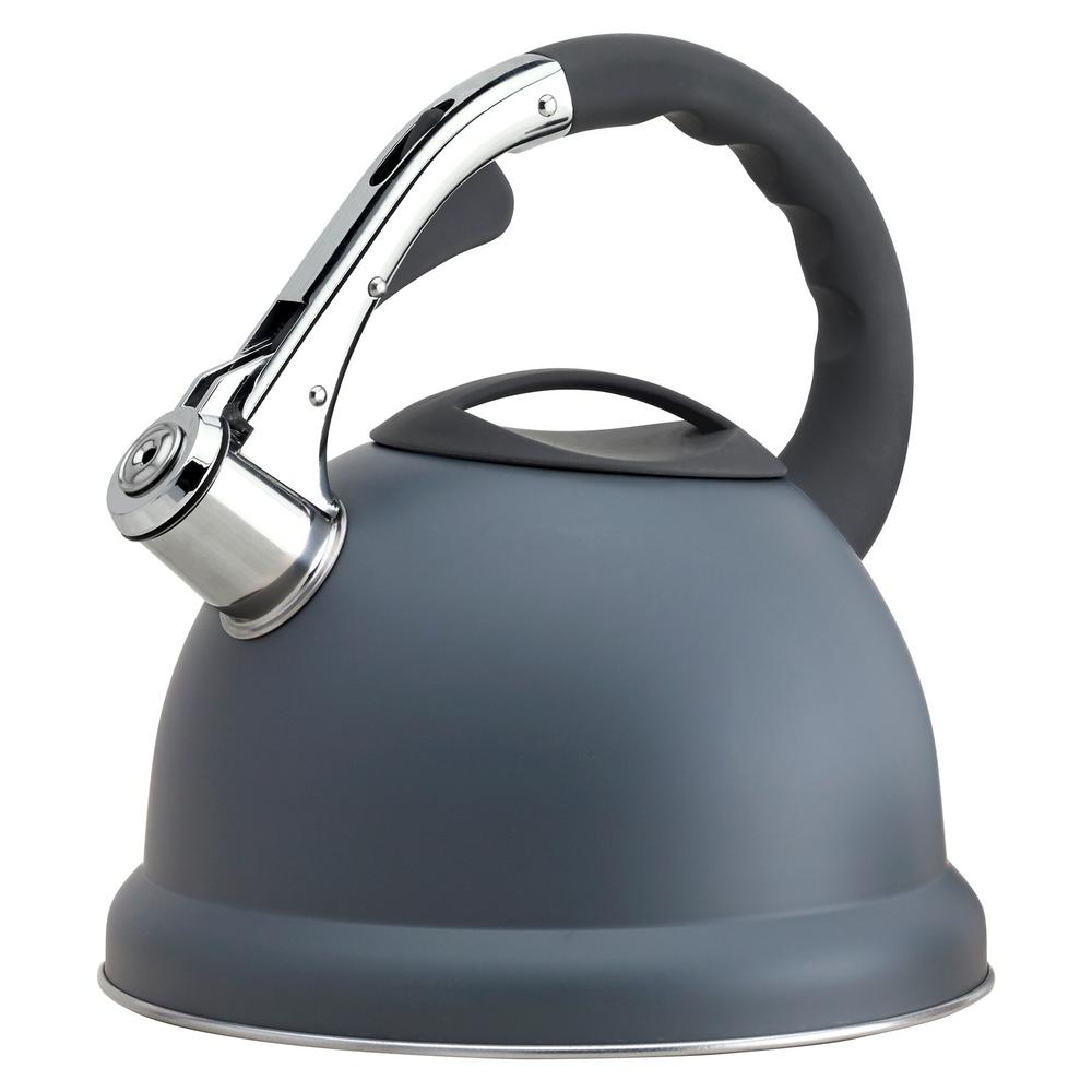 11.4-Cup Stainless Steel Matte Grey Whistling Teakettle