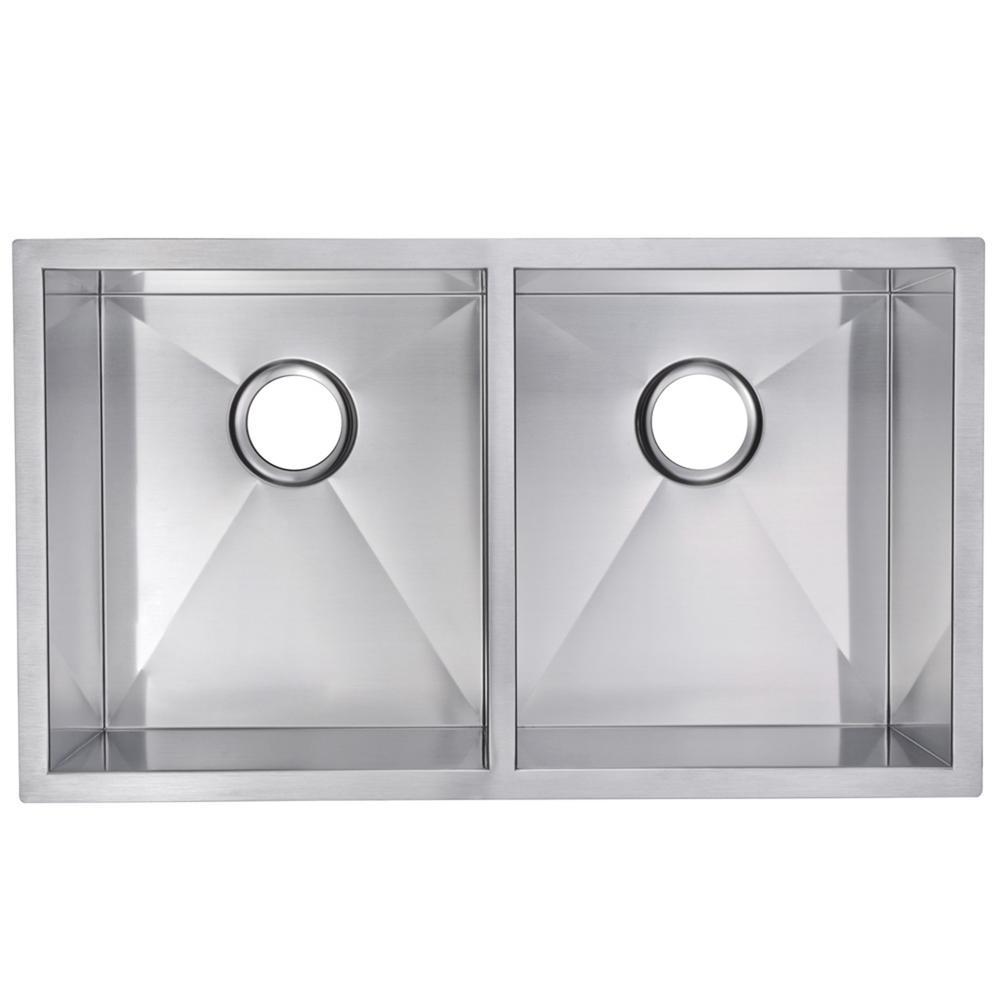 Undermount Stainless Steel 31 in. 50/50 Double Basin Kitchen Sink in Satin