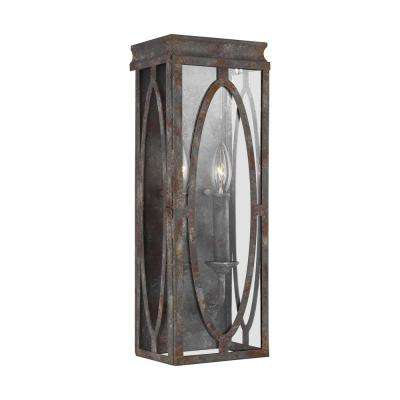 Patrice 6 in. 2-Light Deep Abyss Sconce with Open Oval Cage Shade