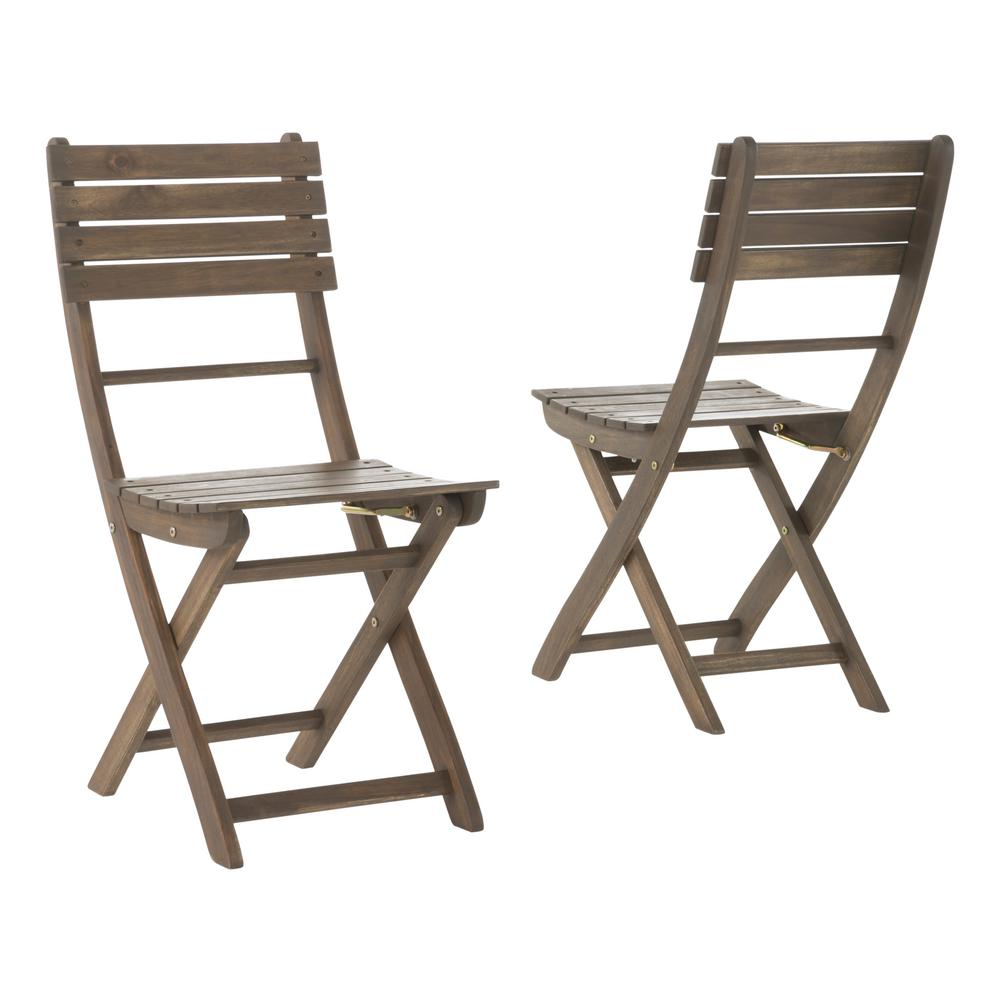 noble house positano grey foldable wood outdoor dining chair 2 pack