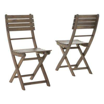 Positano Grey Foldable Wood Outdoor Dining Chair (2-Pack)