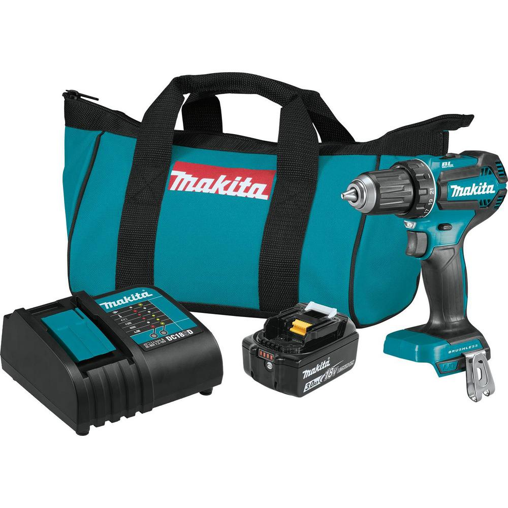 Makita 18-Volt LXT Lithium-Ion Brushless Cordless 1/2 in  Driver-Drill Kit,  3 0Ah