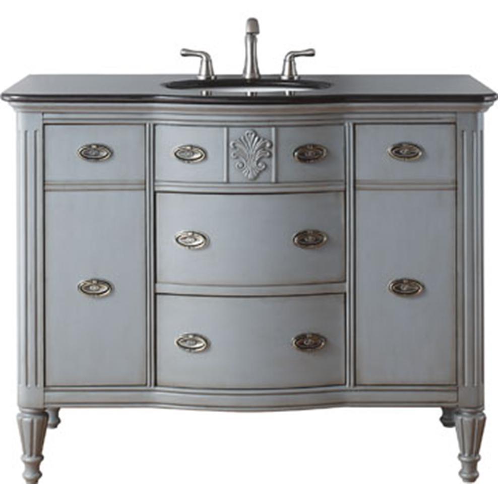 Wellington 44 in. W x 22 in. D Bath Vanity in Worn Grey with Granite Vanity Top in Black