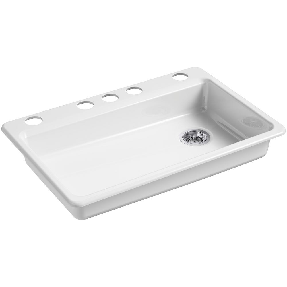 KOHLER Riverby Undermount Cast Iron 33 in. 5-Hole Single Basin Kitchen Sink  in White