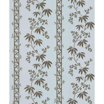 Madison Florals Blue Bamboo Stripe Wallpaper Sample