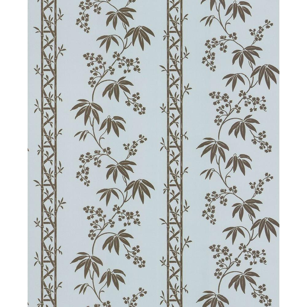 Brewster Madison Florals Blue Bamboo Stripe Wallpaper Sample