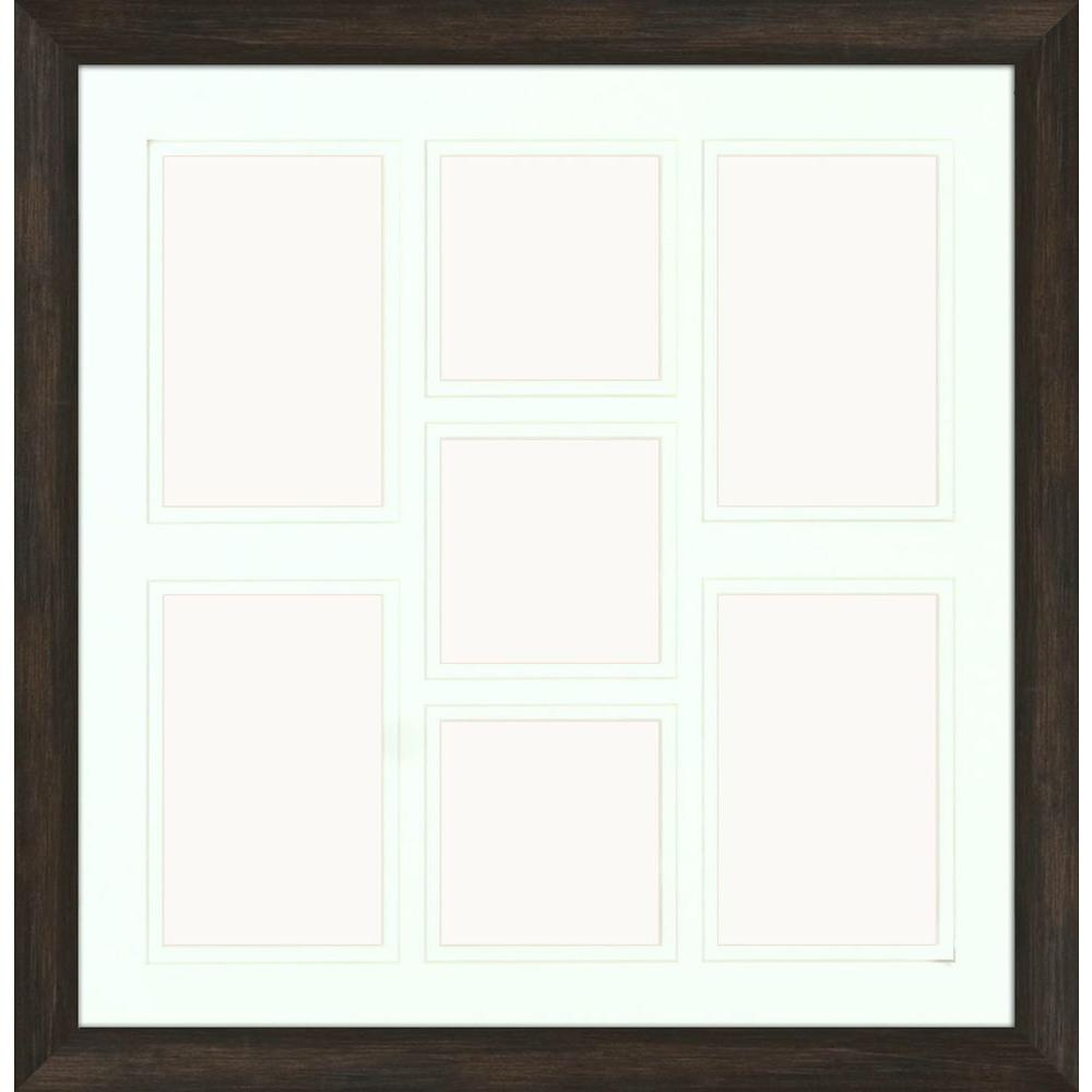 PTMImages PTM Images 7-Opening Holds (4) 4 in. x 6 in. and (3) 4 in. x 4 in. Matted Brown Photo Collage Frame (Set of 2)