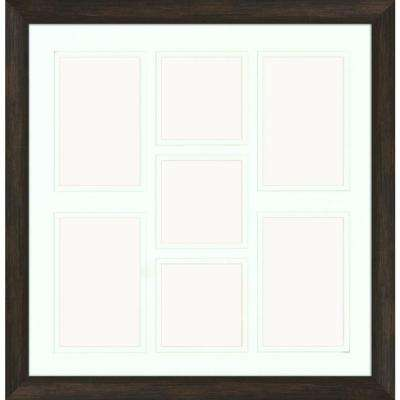 7-Opening Holds (4) 4 in. x 6 in. and (3) 4 in. x 4 in. Matted Brown Photo Collage Frame (Set of 2)
