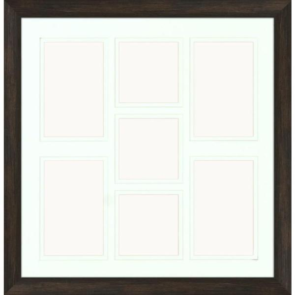 PTM Images 7-Opening Holds (4) 4 in. x 6 in. and (3) 4 in. x 4 in. Matted Brown Photo Collage Frame (Set of 2)