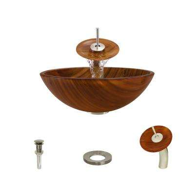 Glass Vessel Sink in Wood Grain with Waterfall Faucet and Pop-Up Drain in Brushed Nickel