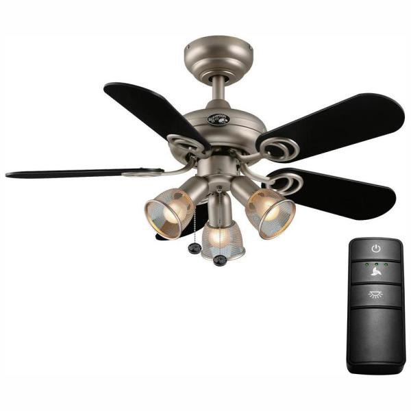 San Marino 36 in. LED Brushed Steel Ceiling Fan with Light Kit and Remote Control