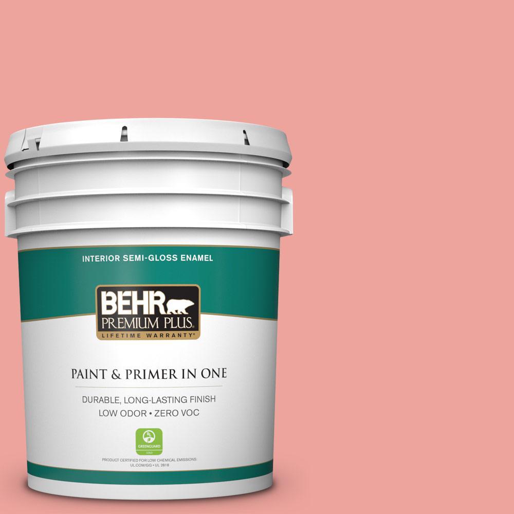 5-gal. #160B-4 Modestly Peach Zero VOC Semi-Gloss Enamel Interior Paint