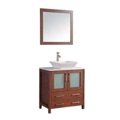 30 in. W x 18 in. D x 36 in. H Vanity in Cherry with Ceramic Top in White with White Vassal Basin and Mirror