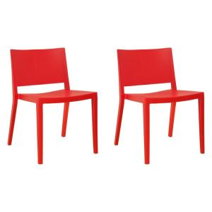 Pleasant Elio Red Modern Plastic Dining Side Chair Set Of 2 Beatyapartments Chair Design Images Beatyapartmentscom