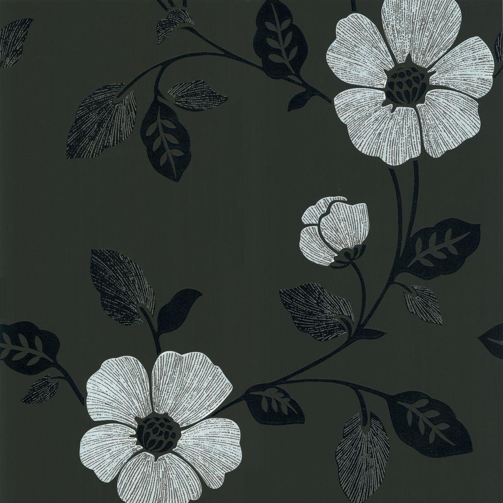 Zync Black Modern Floral Wallpaper